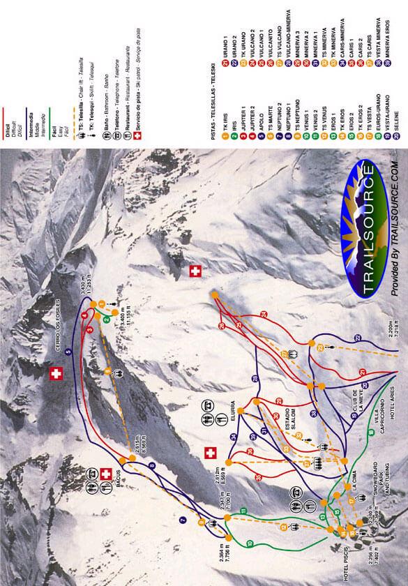 Las Lenas Ski Area Snowboarding Map