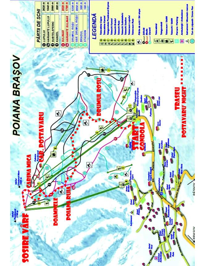 Poiana Brasov Ski Area Snowboarding Map
