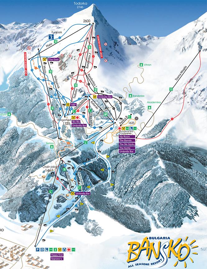 Bansko Ski Centre Snowboarding Map