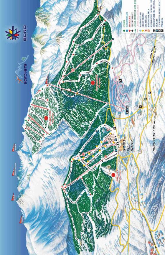 Borovets Ski Centre Snowboarding Map