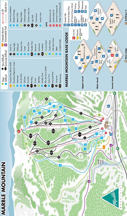 Marble Mountain Resort Snowboarding Map