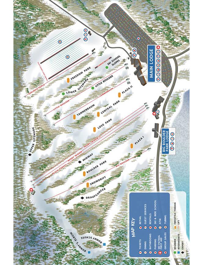 Big Boulder Ski Area Snowboarding Map