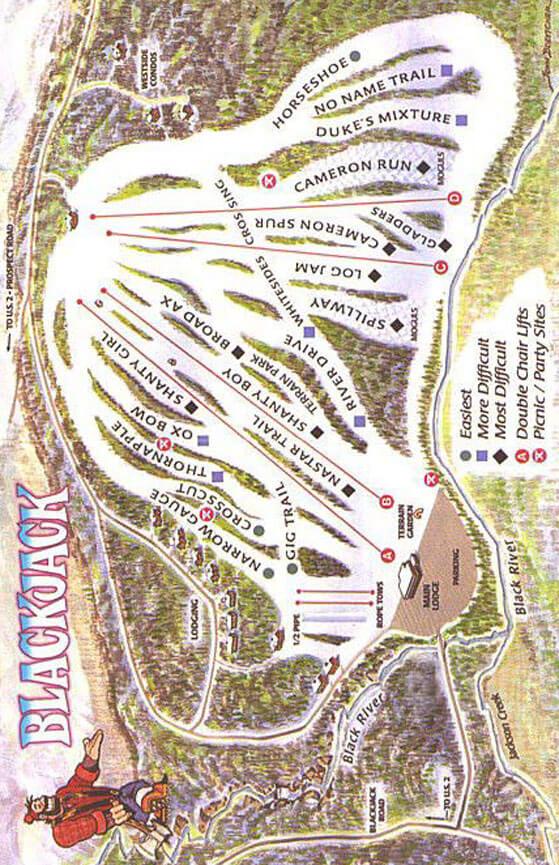 BlackJack Ski Resort Snowboarding Map