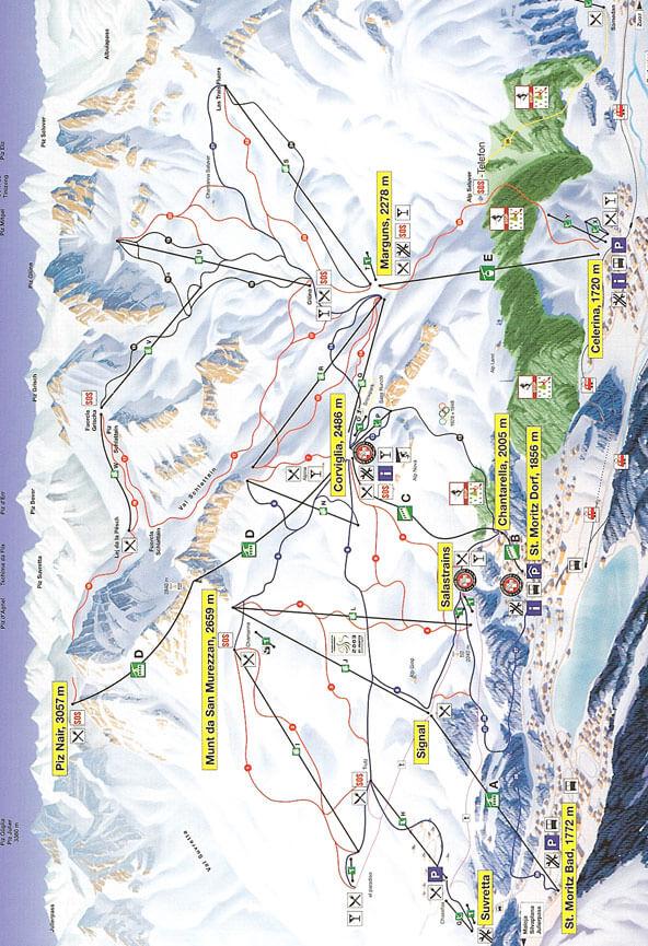 Corviglia Piz Nair Snowboarding Map