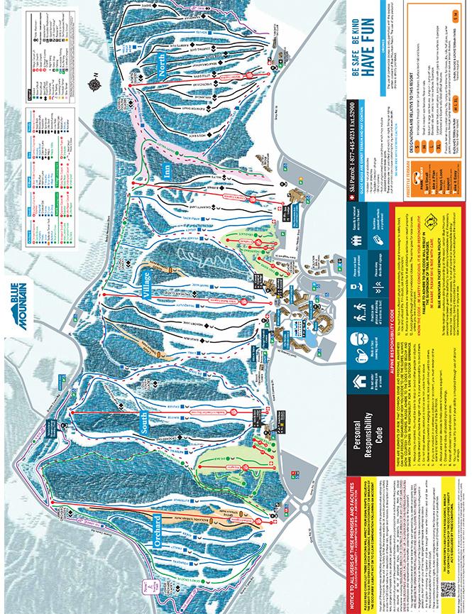 Blue Mountain Resorts Snowboarding Map