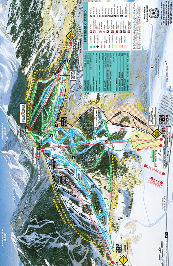 Buttermilk Ski Area Snowboarding Map