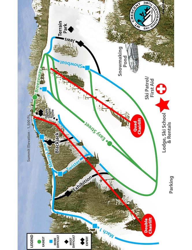 Mt. Crescent Ski Area Snowboarding Map