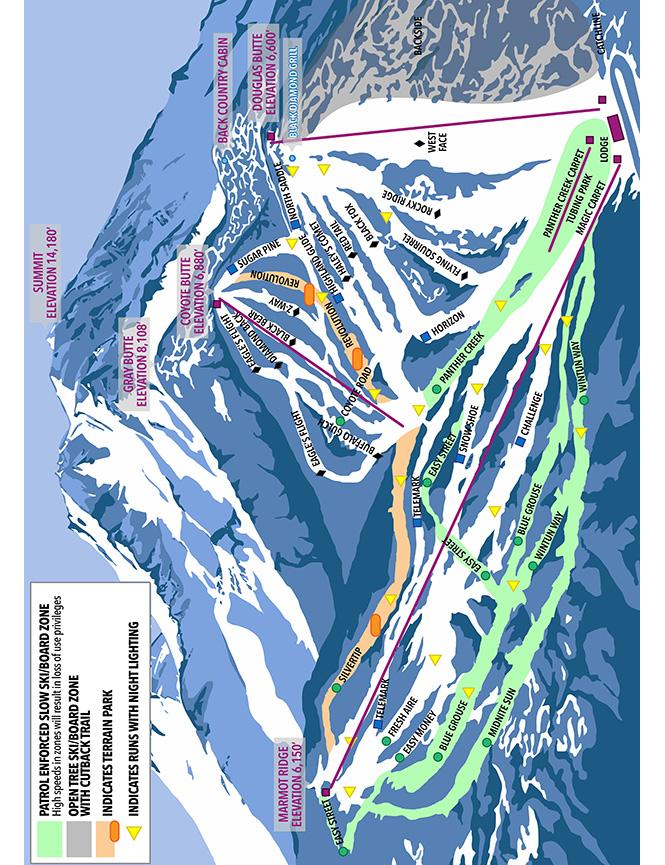 Mount Shasta Ski Park Snowboarding Map