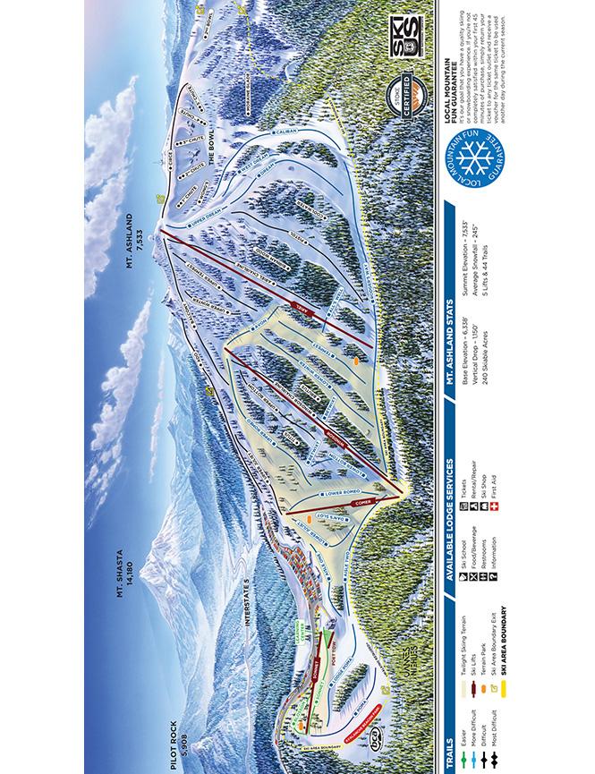 Mt. Ashland Ski Area Snowboarding Map