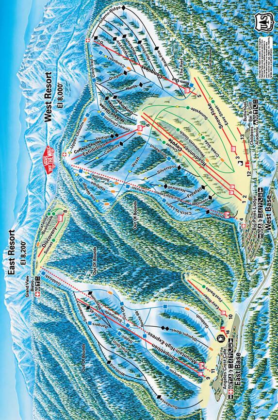 Mountain High Resort Snowboarding Map