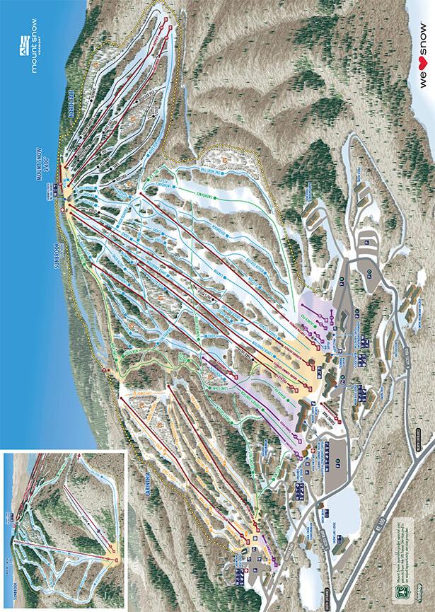 Mount Snow Ski Area Snowboarding Map