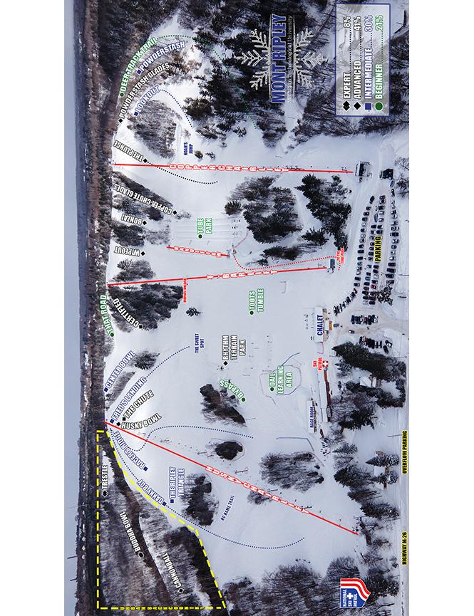Mont Ripley Ski Area Snowboarding Map