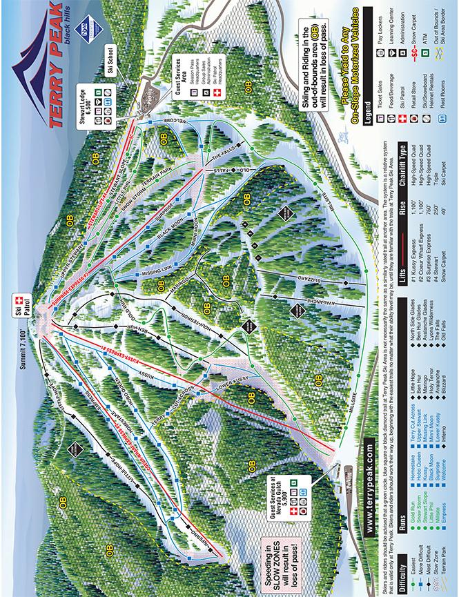 Terry Peak Ski Area Snowboarding Map