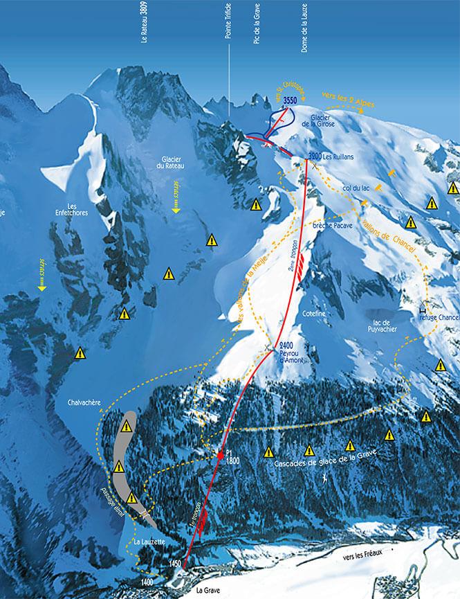 La Grave Snowboarding Map