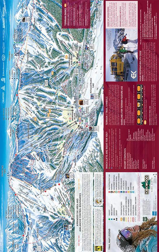 Kirkwood Ski Area Snowboarding Map
