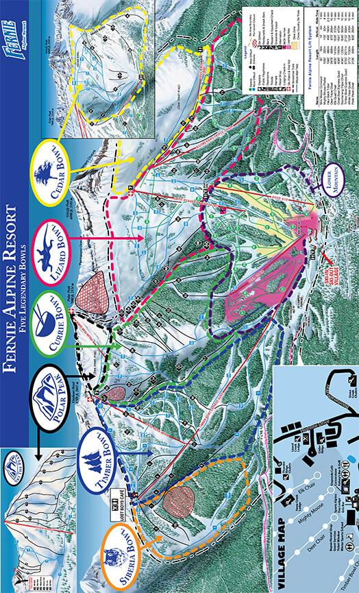 Fernie Alpine Resort Snowboarding Map