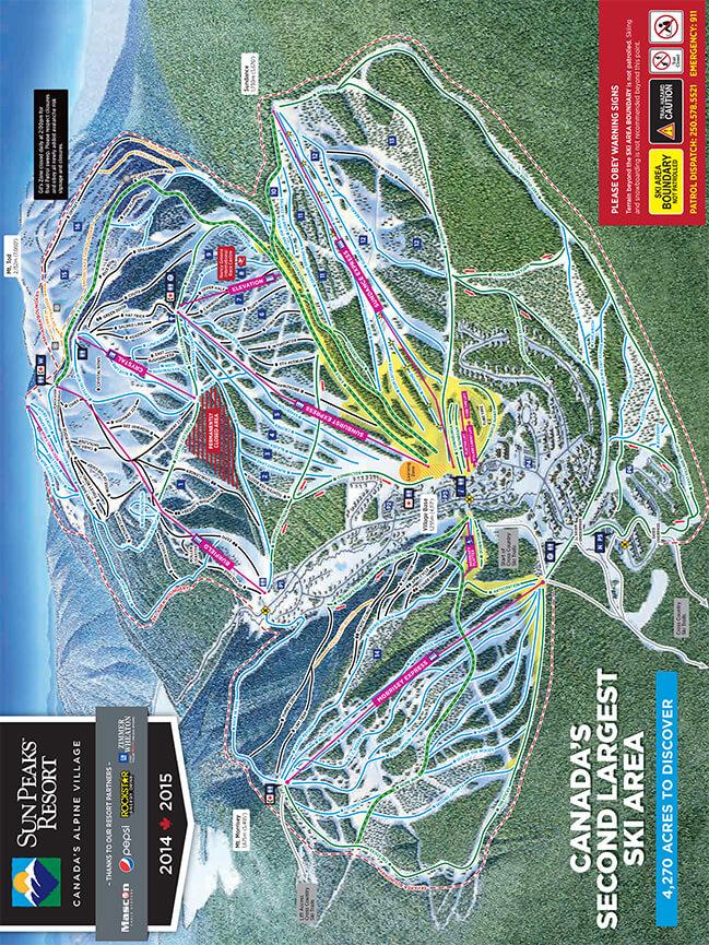 Sun Peaks Resort Snowboarding Map