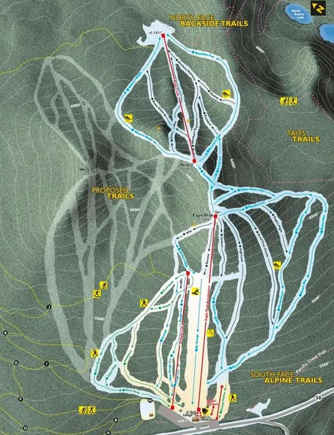 Willamette Pass Snowboarding Map