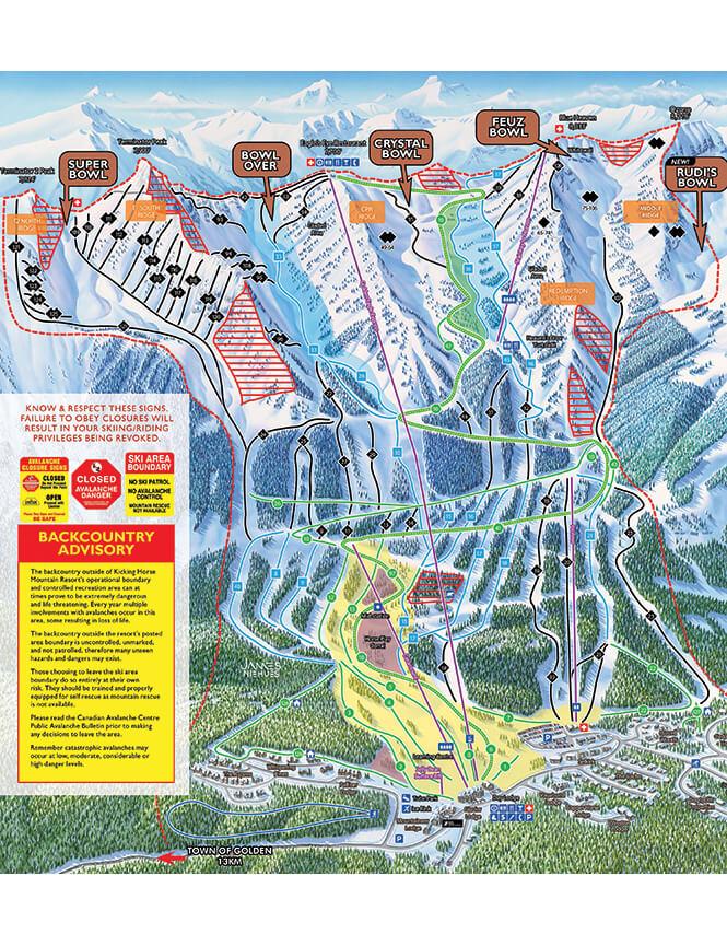 Kicking Horse Resort Snowboarding Map