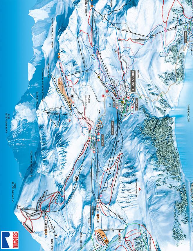 Tignes Snowboarding Map