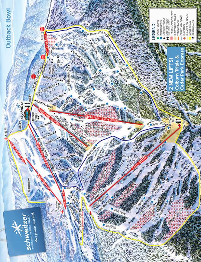 Schweitzer Mountain Ski Resort Snowboarding Map