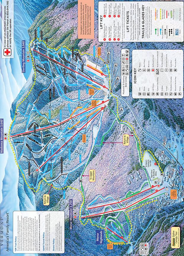 Smugglers Notch Resort Snowboarding Map