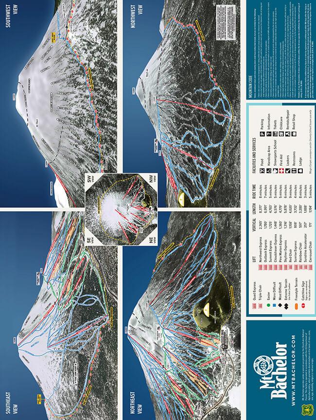 Mt. Bachelor Ski Resort Snowboarding Map
