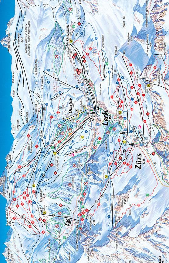 Lech-Zurs Snowboarding Map