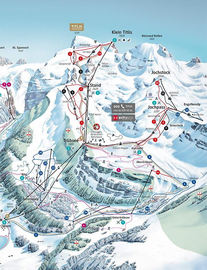 Engelberg Titlis Snowboarding Map
