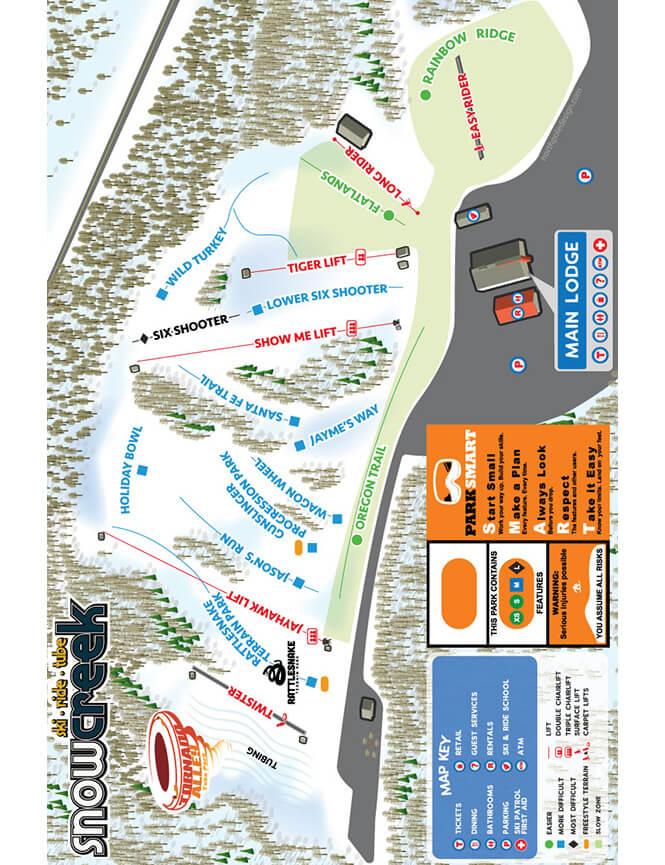 Snow Creek Ski Area Snowboarding Map
