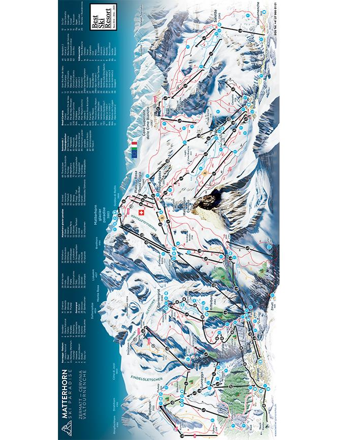Cervinia-Valtournenche Snowboarding Map