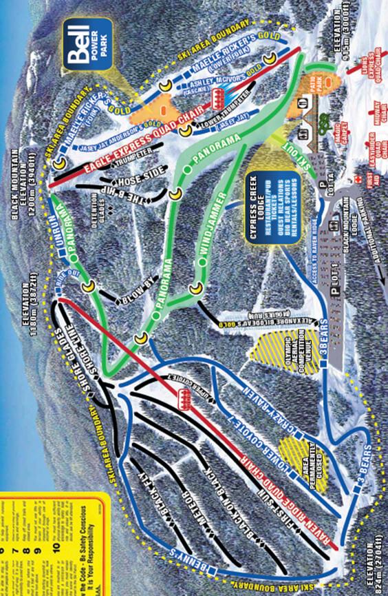 Cypress Mountain Ski Area Snowboarding Map