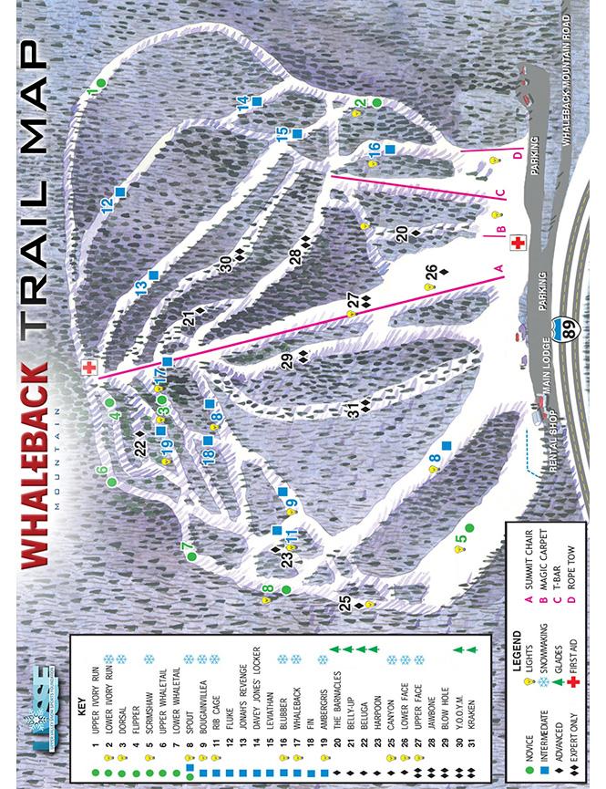 Whaleback Mountain Ski Area Snowboarding Map
