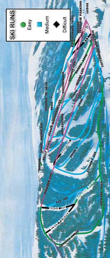 Tamarack Ski Area Snowboarding Map