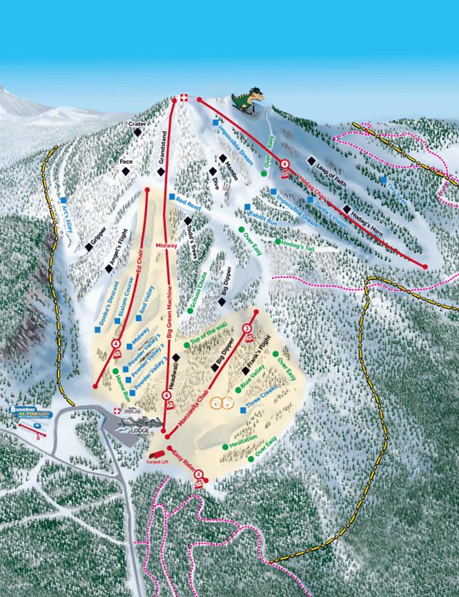 Hoodoo Mountain Resort Snowboarding Map