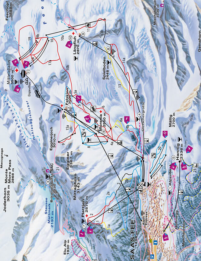 Saas-Fee Snowboarding Map