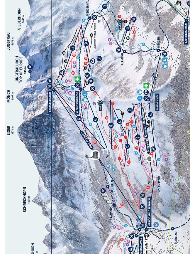 Kleine Scheidegg-Mannlichen Snowboarding Map