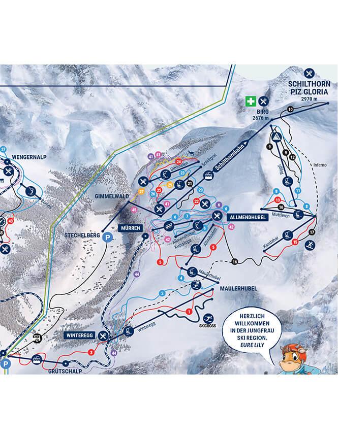 Murren-Schilthorn Snowboarding Map
