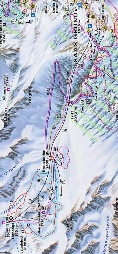 Saas-Grund Snowboarding Map