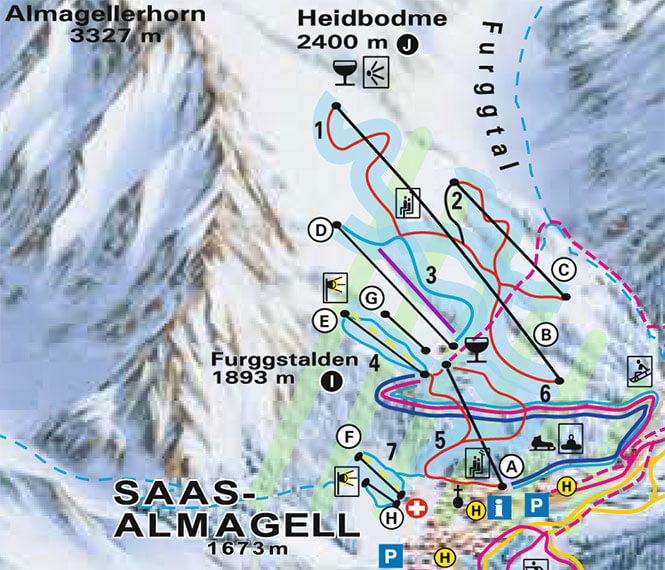 Saas-Almagell Snowboarding Map