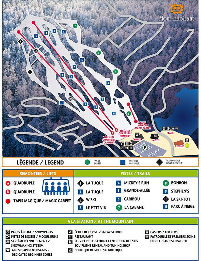 Mont-Habitant Ski Area Snowboarding Map