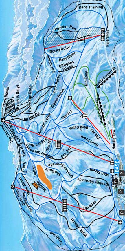 Coronet Peak Ski Area Snowboarding Map