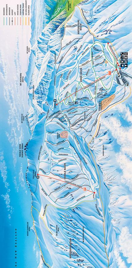Treblecone Ski Area Snowboarding Map
