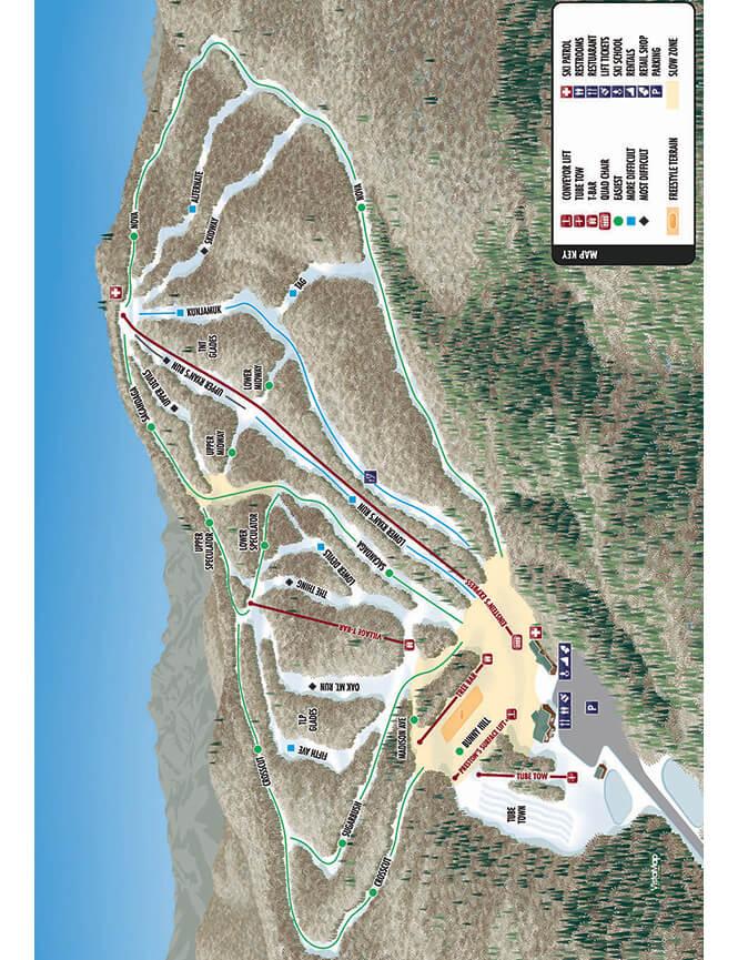 Oak Mountain Ski Center Snowboarding Map