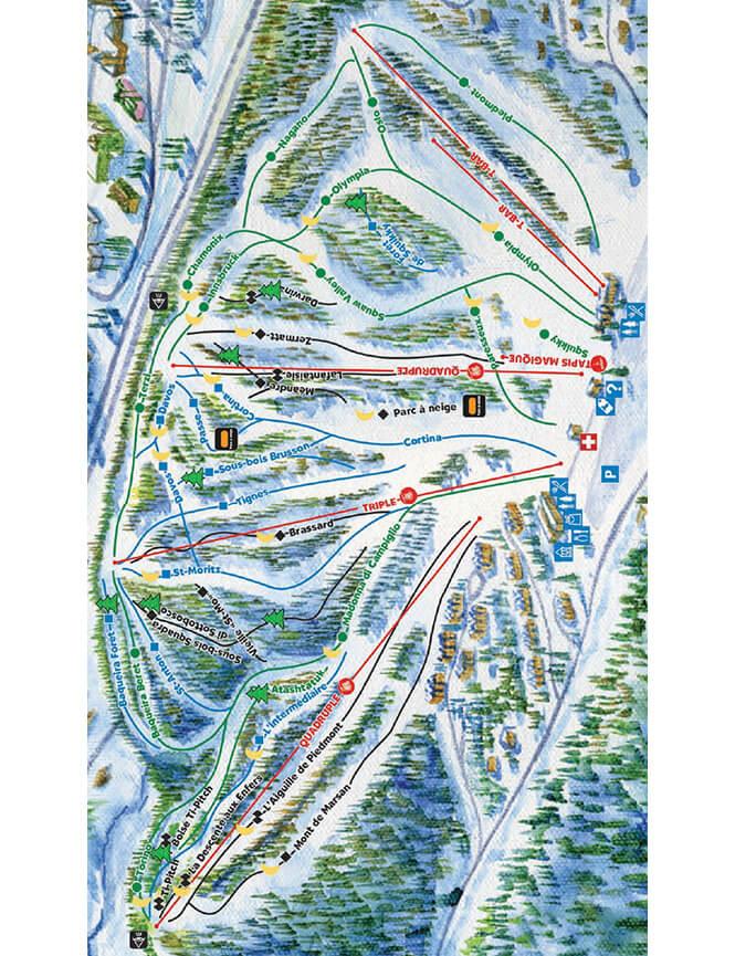 Mont Olympia Ski Area Snowboarding Map