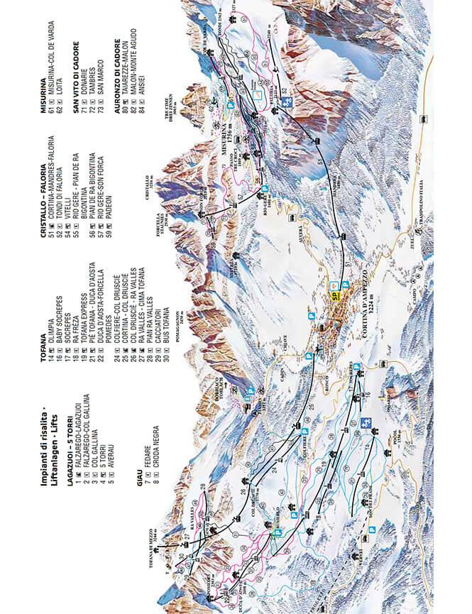 Cortina d Ampezzo Snowboarding Map