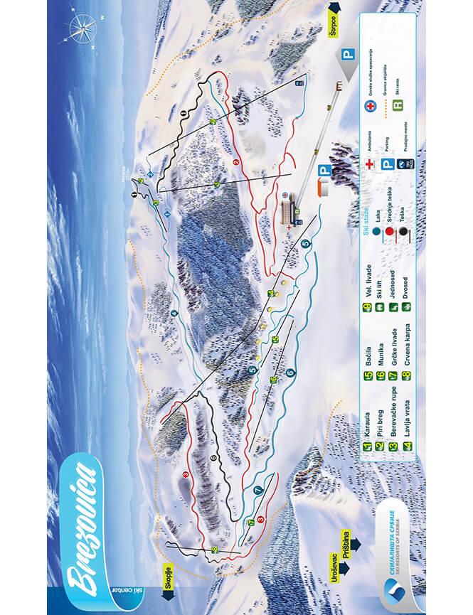 Brezovica Ski Centar Snowboarding Map