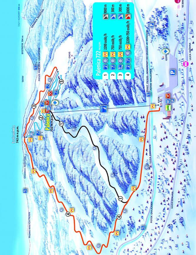 Szczawnica Ski Area Snowboarding Map