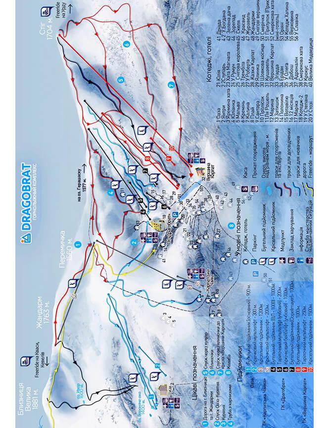 Dragobrat Ski Area Snowboarding Map