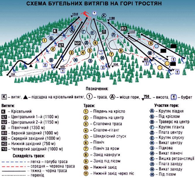 Slavsko Ski Area Snowboarding Map